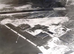 Aerial view of Kaneohe Naval Air Station taken in the 1940s