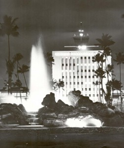 Night view of Arthur Godfrey Fountain in the 1960s