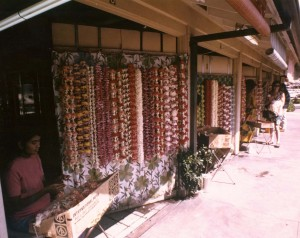 Photo of the lei stands at HNL from 1974