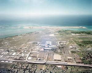Aerial photo of HNL from 1980