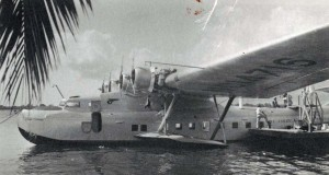 Historical photo of a China Clipper in the water