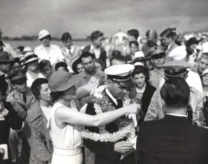 Pan Am pilot being honored with a Hawaiian lei