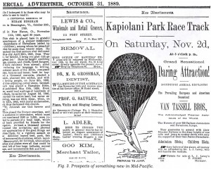 1889 Honolulu Advertiser Article