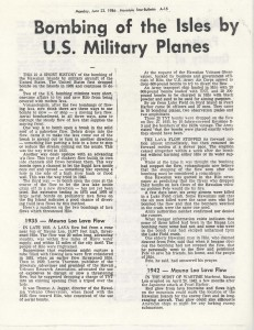 Bombing of the Isles by U.S. Military Planes