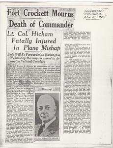 Lt Col Hickam Obituary