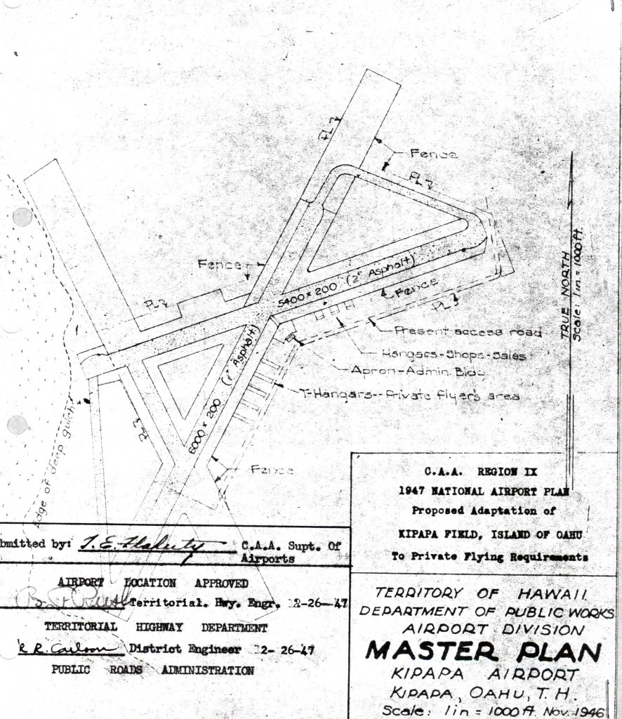 Draft of Kipapa Airport in 1947