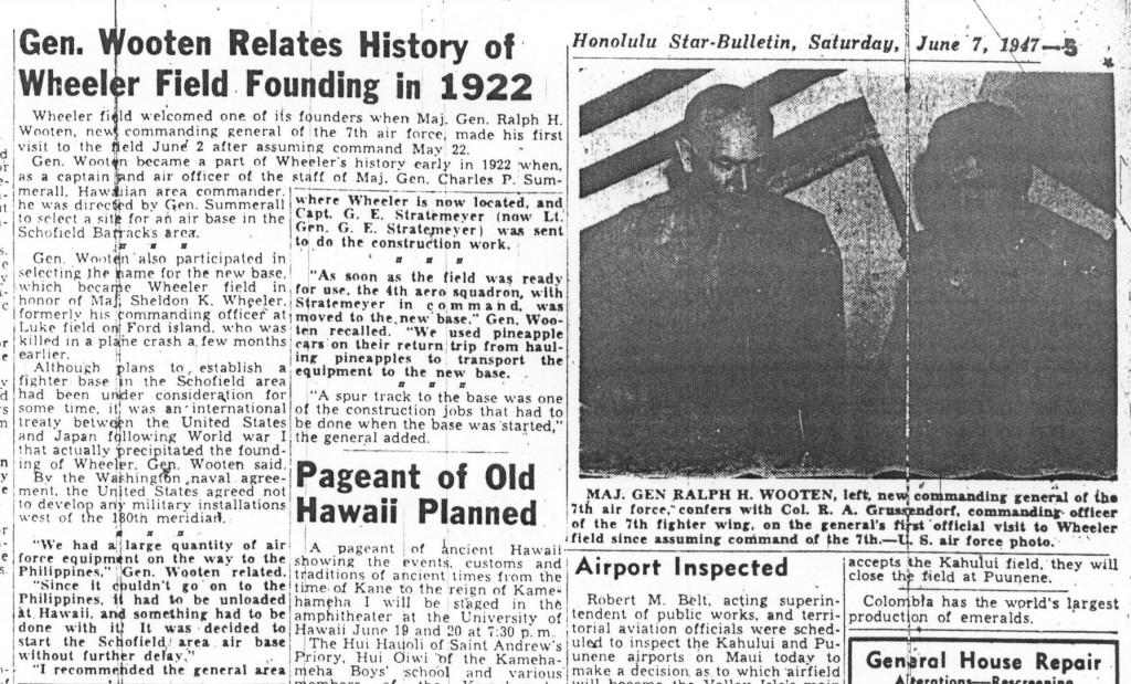 Gen Wooten Relates History of Wheeler Field Founding in 1922