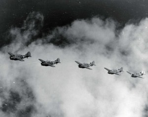 Flight of O-47 aircraft, Bellows Field, c1941.