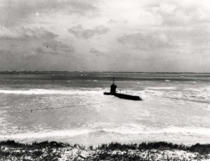 Japanese 2-man midget submarine grounded on the coral reef off Bellows Field, was commanded by Ens. Kazuo Sakamaki who swam ashore on December 8, 1941 and was captured.