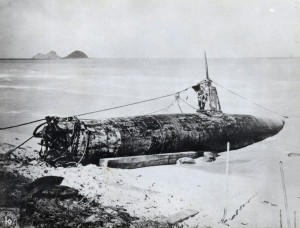 Japanese midget submarine at Bellows Field was salvaged by a Navy crew, 1941.