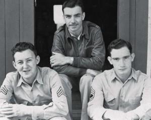Capt. Jean K. Lambert with Sgt. Mergenthaler and TSgt Claypool at Bellows Field, 1942.