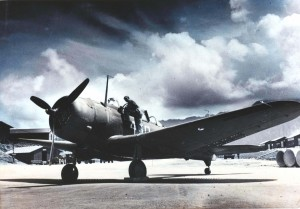 Douglas A-24 of the 333rd Fighter Squadron, Bellows Field, 1943. This aircraft was used frequently on interisland accomodation flight.