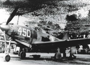 """P-39 aircraft of 333rd Fighter Squadron in maintenance area at Bellows Field, 1943. """"Sofio on wing"""""""