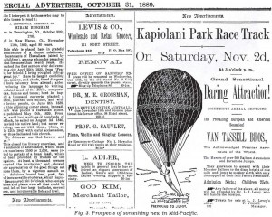Advertisement for a balloon flight on Oahu by the Van Tassell Brothers on November 2, 1889.