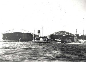 Hangar at Combined Services Flying Field (designated Luke Field in 1919), home of the 4th and 6th Aero Squadrons. Plane is Navy HS-2L Curtiss flying boat.