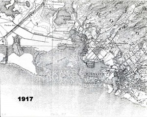 Map of Pearl Harbor, Honolulu Airport area 1917.