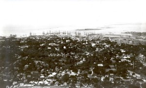 Downtown Honolulu and Honolulu Harbor from Punchbowl, 1890.