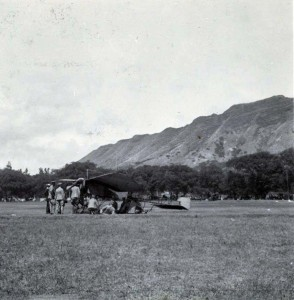 Monoplane in Kapiolani Park, Honolulu, 1911.