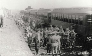 Arrival of the 4th Cavalry at Schofield Barracks, January 14, 1913.