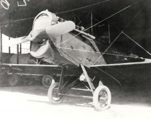 DH-4 aircraft in hangar at Luke Field, c1921-1922.
