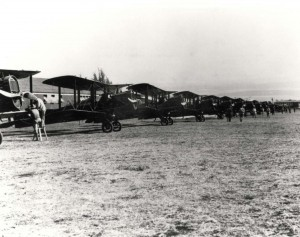 Lined up are DH-4Bs of the 4th or 6th Aero Squadron, Hawaii, c1923-1924.