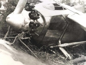 The Travelair plane, the City of Oakland, flown by Ernie Smith and Emory Bronte, landed in a cluster of keawe trees next to Norman Maguire's Kamalo Ranch, July 15, 1927. Its fuselage was broken in two in back of Bronte's seat and had one blade of the propeller stuck in the ground, holding the engine clear of the ground. The men were shaken but not hurt.