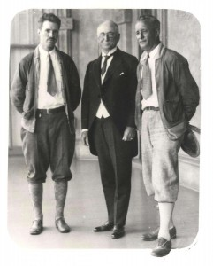 Emory Bronte and Ernest Smith pose with Territorial Governor Wallace R. Farrington following their historical flight, July 15, 1927. They were later honored with Charles Lindbergh, Lester Maitland and Albert Hegenberger and other famous flyers of the U.S. for their feat and contribution to the development of aviation.