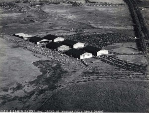 Thousands of well-wishers await the finish of the Dole Derby at Wheeler Field on August 17, 1927.
