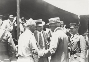 Dole Derby attendees James B. Dole, Governor Wallace R. Farrington, and Albert P. Taylor.