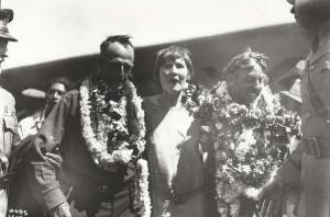 Dole Derby runner-up Martin Jensen and his wife, and navigator Paul Schluter at Wheeler Field, August 17, 1927.
