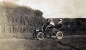 Early automobile in Honolulu, 1920s.