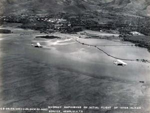 Inter-Island Airways' Sikorsky S-38 amphibian made its initial flight interisland service on November 11, 1929.