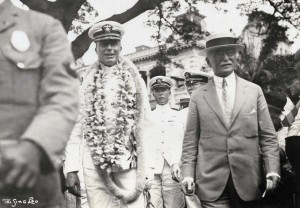 Commander John Rodgers and his crew were welcomed to Iolani Palace by Governor Wallace R. Farrington on September 17, 1925. Following the record setting flight, Rodgers was promoted to Assistant Chief and later Chief of the Bureau of Aeronautics in Washington, D.C.