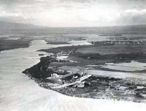 The Navy restored the PN-9 No. 1 and flew it again over Honolulu on September 19, 1925. In this photo it is shown flying over Pearl Harbor.