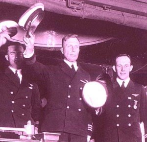 Commander John Rodgers is honored after making the first Trans-Pacific flight from San Francisco to Hawaii, 1925.