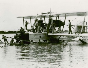 After flying 1,870 nautical miles, a world's seaplane distance record, the plane ran out of fuel and landed in the ocean 365 miles from Honolulu on September 1, 1925.