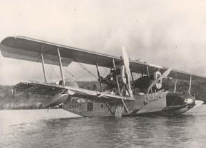 The PN-9 No. 1 taxis in San Pablo Bay near San Francisco on August 31, 1925 attempting to get airborne. John Rodgers was the crew commander and navigator. The plane was too heavy to make it on the first takeoff try.