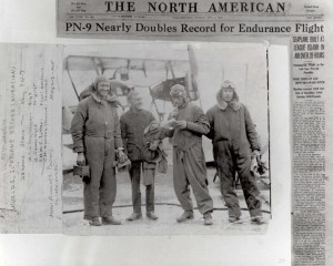 A newspaper article details the voyage of the PN-9 and its successful flight.