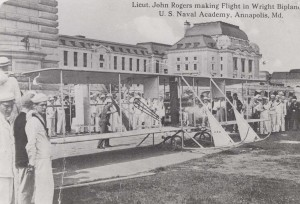 Lt. John Rodgers making a flight in a Wright biplane at the Naval Academy, Annapolis, Maryland, 1912.