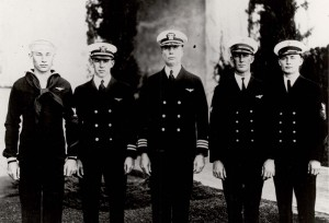 The PN-9 No. 1 crew: W. H. Bowlin, B. J. Connell, Commander John Rodgers, S. R. Pope, and O. G. Stantz. 1925.
