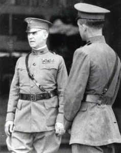 General Summerall, Hawaiian Deparatment Commanding General, on left, with Major Curry, Air Services Officer for Hawaiian Department, during inspection at Luke Field, January 1923.
