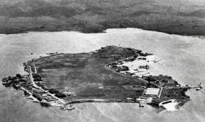 Ford Island showing the U.S. Army's Luke Field on left side and the growing Navy facilities on right side, March 25, 1925.