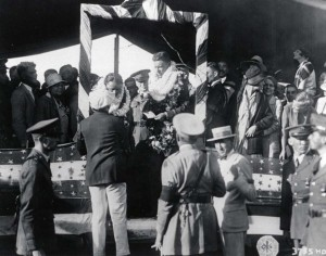 Decked with lei, Lts. Lester Maitland and Albert Hegenberger were hailed for their feat which linked Hawaii to the U.S. Mainland by air.