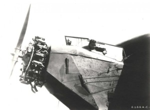 Lt. Lester J. Maitland in cockpit of Fokker tri-motor airplane. He had been stationed in Hawaii from 1918-1921. Hegenberger had served in Hawaii from 1923-1926. Both were familiar with the Hawaii terrain after flying between islands.