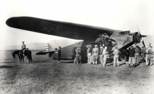 Pilot Lt. Lester F. Maitland & Lt Albert F. Hegenberger completed the first flight to Hawaii on June 29, 1927. The 26 hour flight from Oakland to Wheeler Field, Oahu was in an Army tri-motor Fokker monoplane. Mounted police guard the plane after the flight.