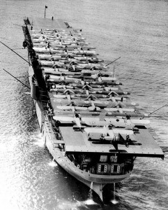 USS Langley with planes on the deck, 1925.