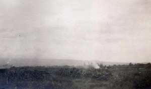 Clearing coral for Hilo Field, January 1927.