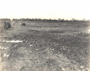 Taken from south end of completed Hilo airfield. When this part was leveled as far as the foundary it provided a landing strip about 2,000-2,500 feet long. August 1927.