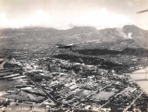 U.S. Army Air Corps Fokker in flight over Honolulu December 1928