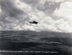 U.S. Army Air Corps Fokker over Oahu 1929